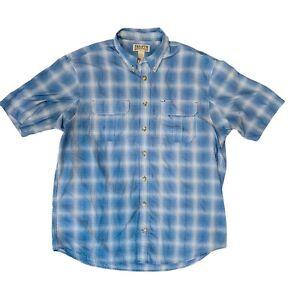 Duluth Trading Co Mens BBQ Short Sleeve Shirt Blue White Plaid Size XL Tall