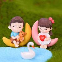 Mond paar Miniatur Figur Fee Garten Puppenhaus Dekor Micro Landschaft nach ob  B