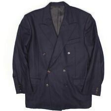 Yves Saint Laurent Mens Double Breasted Blazer 40R Solid Navy Blue Wool Jacket