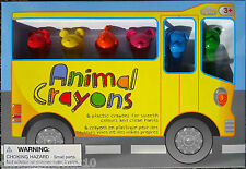 Animal Shaped Colouring Crayons - Pack of 6 - Red Yellow Orange Pink Blue Green