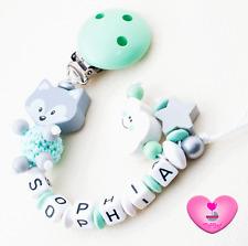 Schnullerkette mit Namen★ XL Fuchs ★ Wolke ★ Mädchen Junge ♥ Babygeschenk mint