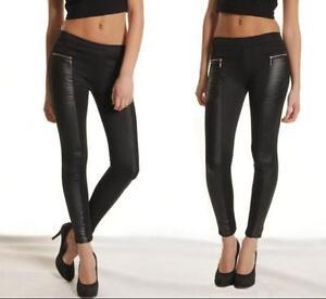Women Leather Look Panel Leggings Jeggings Zip Stretch Trousers Black