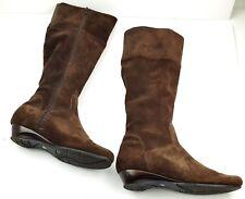 Vertan Italia Wedge Flex Sole Suede Brown Zip Knee High Boots Size 7.5 Elastic