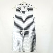 ead6e0a4a4 LANDS END striped terry SWIMSUIT COVER UP DRESS M 10-12 drawstring pockets