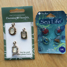 """miniature picture frame sea life charms metal resin coral fish rhinestone 1"""""""