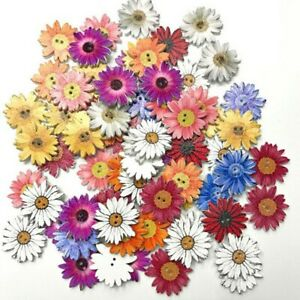 50Pcs Flower Picture Wood Button 2 Holes Mixed Color Apparel DIY Craft Sewing