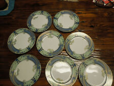 Fitz And Floyd Green Dolphin Street 8 Salad Plates Excellent Condition Eight