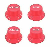 Set of 4 NEON PINK Strat or LP Style Electric Guitar Knobs 2 Volume & 2 Tone