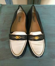 "BALLY* Navy Blue/ White Leather Loafers Women's Shoes Sz 8.5""M"" Made In Italy."