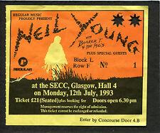 Original 1993 Neil Young Booker T Concert Ticket Stub SECC Glasgow Scotland UK