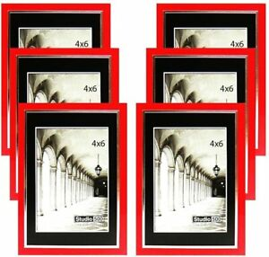 Studio 500 4 by 6-inch Sleek Red w/Silver Picture Frames, 6 pieces