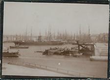 France, Marseille, Vue des bateaux marchands dans le port, ca.1900, Vintage citr