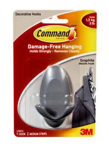 3M Command 17087G Medium Graphite Double Hook