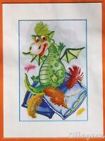 Kinder Motiv Drache Stickpackung Stickbild Bild sticken mit Perlen 624