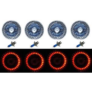 5-3/4 Halogen Red LED Ring Halo Angel Eyes Projector Headlight Light Bulbs Set