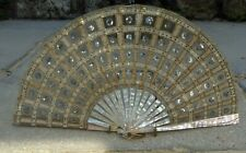 FINE ANTIQUE FRENCH CARVED MOTHER OF PEARL GOLD SEQUINED HAND FAN