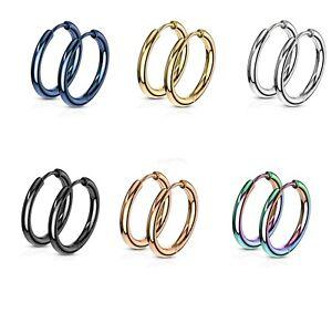 Stainless Steel Hinge Action Seamless Hoop Pair Earrings 14mm Wide 20GA Earrings