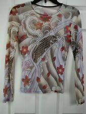 JUST IN TIME Sz M Japanese Koi Print Mesh Sheer Scoop neck long slv blouse Top