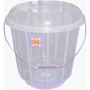 Clear Plastic Bucket Bin with Lid and Handle Kitchen Bathroom Storage 16L UK