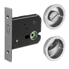 Sliding door locking kit in satin stainless steel