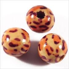 Lot de 20 Perles rondes en Bois 12mm Motif Léopard