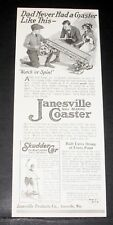 1919 OLD MAGAZINE PRINT AD, JANESVILLE COASTER & SKUDDER CAR, WATCH 'ER SPIN!