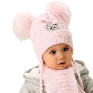 AJS Baby Mädchen Winterset Mütze Wintermütze zwei Bommelmütze mit Wolle Schal