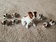 Vintage Antique 1950's Porcelain Dog and 7 Puppies - Japan Figurines