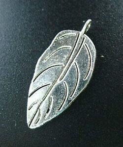 20pcs Tibetan Silver Large Flat Leaf Charms 30mm R187