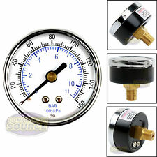"Quality 1/4"" NPT Air Pressure Gauge 0-160 PSI Back / Rear Mnt Mount 2"" Face"