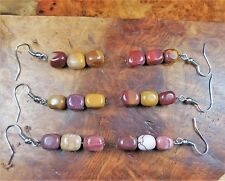 Mookaite Earrings Tumbled Triple Gemstone Tower H2 Healing Crystals Jasper Stone