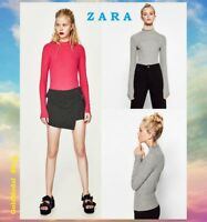 ZARA Great Cotton Thin Sweater Pink Gray Marl Ribbed Funnel Neck New Top S M L