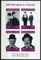 Chad 2019 MNH Stan Laurel & Oliver Hardy 4v IMPF M/S Actors Famous People Stamps