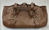Cole Haan Womens Village Tan Pebbled Leather Satchel Double Strap Handbag Purse