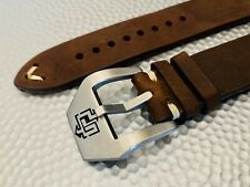 22mm Panerai DARK BROWN vintage Crazy Horse Leather Watch Band Buckle 4mm Thick