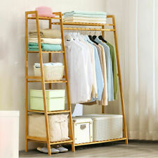 6 Tier Heavy Duty Hallway Wooden Rail Clothes Hanging Stand Shoe Rack w/ Shelves