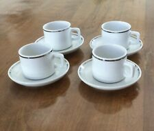 Set of 4 Espresso Cups, Saucers, White With Elegant Silver Line Accent.
