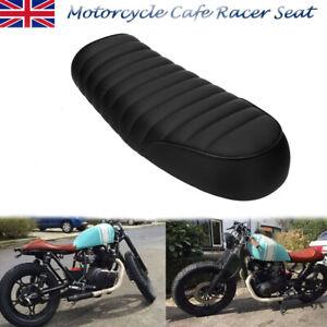 Motorbike Cafe Racer Seat Flat Brat Hump Saddle For Honda Black UK Stock