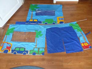 Vorhang für Kinderhochbett blau grün Autos Baumwolle 1,65cm & 0,85 x 0,65