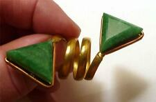 DOUBLE Amazonite Ring Brass, get the look of Gold Adjustable Band Sz 7 -12