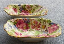 TWO Royal Winton Summertime Floral Rose Chintz Pin Trays or Salt Dishes