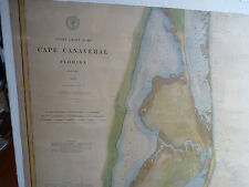 Vintage Hand Colored Cape Canaveral Florida Coast Chart No. 161 Dated 1883