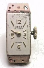 Antique HEBE Incabloc 17j Swiss Watch Movement & Dial for Repair or Parts #W250
