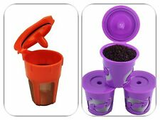 Keurig 2.0 Reusable Orange K-Carafe and 3 Purple K-Cups Coffee Filter Combo