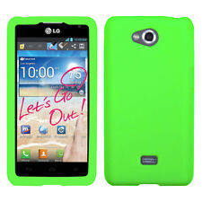 MetroPCS LG Spirit 4G Rubber SILICONE Soft Gel Skin Case Phone Cover Neon Green