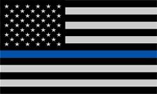 Police Officer Thin Blue Line reflective American Flag Decal Sticker 3.75 x 2.25
