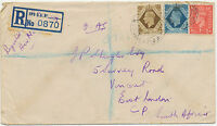 2409 1946 George VI 1D+10D+1Sh commercially used Reg.FIELDPOST AIRMAIL ITALY SA