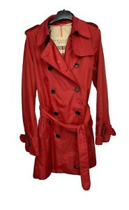 Burberry Brit Packable Trench Coat Belted Double Breasted  Red UK 10 / US 8 / I
