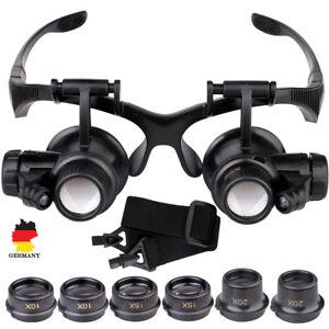 Lupenbrille mit Licht 10X 15X 20X Vergrößerungsbrille Kopflupe Universal Brille