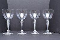 SET 4 Baccarat Crystal France Cut Hexagonal Tall Water goblets Glasses Opera 7.5